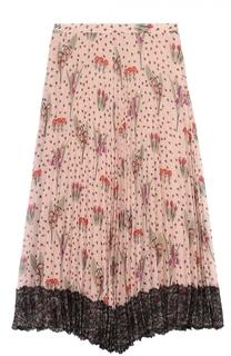 Плиссированная асимметричная юбка с цветочным принтом REDVALENTINO
