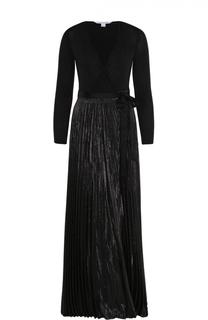 Платье-макси с плиссированной юбкой и металлизированной отделкой Diane Von Furstenberg