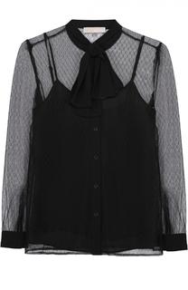Полупрозрачная блуза прямого кроя с воротником-аскот MICHAEL Michael Kors