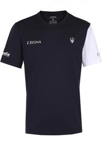 Хлопковая футболка с контрастной отделкой Z Zegna