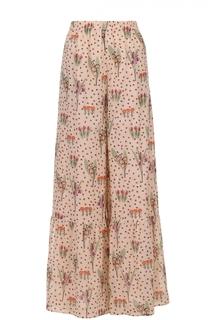 Широкие шелковые брюки с цветочным принтом REDVALENTINO