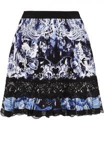 Мини-юбка с принтом и оборками Roberto Cavalli