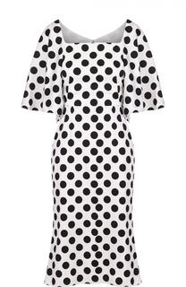 Приталенное платье в горох с широкими рукавами Dolce & Gabbana