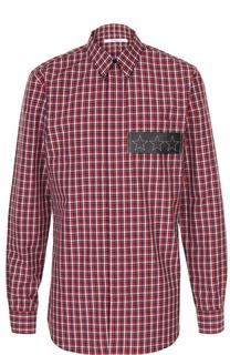 Хлопковая рубашка в клетку с нашивкой из натуральной кожи Givenchy