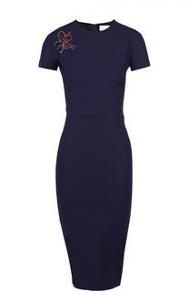 Платье-футляр с контрастной цветочной нашивкой Victoria Beckham