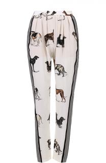 Шелковые брюки с защипами и принтом в виде собак Stella McCartney