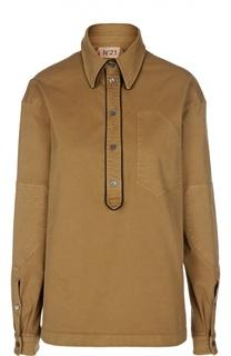 Блуза с контрастной отделкой и нашивками No. 21