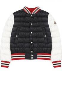 Пуховая куртка с контрастной отделкой Moncler Enfant