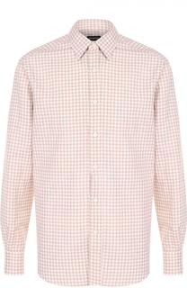 Рубашка из смеси хлопка и льна с воротником кент Ermenegildo Zegna