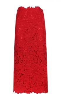 Кружевная юбка-миди с завышенной талией Valentino