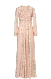 Платье-макси с завышенной талией и цветочным принтом Valentino