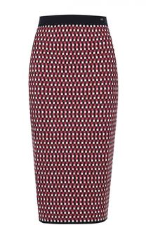 Вязаная юбка-карандаш в контрастную клетку Escada