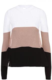 Пуловер в контрастную полоску с шелковой спинкой No. 21