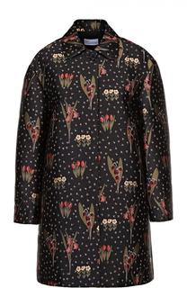 Пальто свободного кроя с контрастным цветочным принтом REDVALENTINO