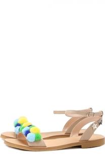 Кожаные сандалии с помпонами Il Gufo