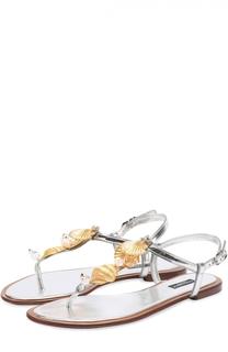 Сандалии из металлизированной кожи с декором Dolce & Gabbana