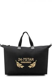 Текстильная дорожная сумка с вышивкой канителью и отделкой из натуральной кожи Dsquared2