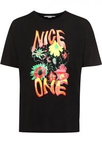 Хлопковая футболка с контрастным принтом Stella McCartney