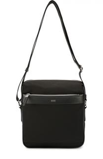 Текстильная сумка-планшет с отделкой из натуральной кожи HUGO