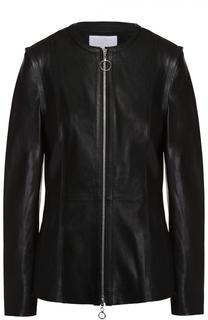 Кожаная куртка на молнии с круглым вырезом Escada Sport