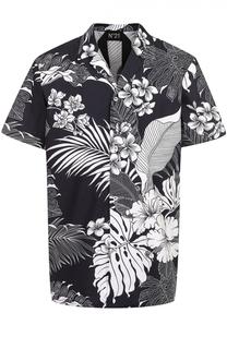 Хлопковая рубашка с короткими рукавами и цветочным принтом No. 21