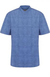 Хлопковая рубашка с короткими рукавами и воротником-стойкой Armani Collezioni