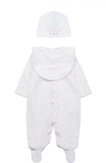 Пижама и нагрудник в комплекте с шапкой и игрушкой Kissy Kissy
