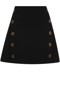 Мини-юбка А-силуэта с декоративной отделкой Chloé