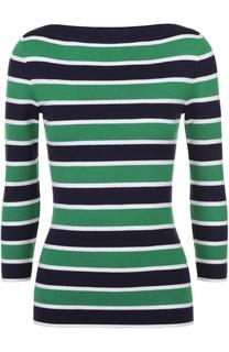 Кашемировый пуловер в контрастную полоску с укороченным рукавом Michael Kors