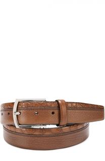 Кожаный ремень с металлической пряжкой и отделкой из кожи крокодила Barrett
