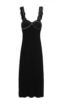 Шелковое плиссированное платье-миди с декоративной отделкой 3.1 Phillip Lim