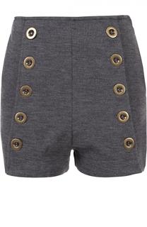 Мини-шорты с завышенной талией и декоративной отделкой Chloé