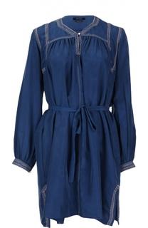 Шелковое мини-платье с поясом и контрастной прострочкой Isabel Marant