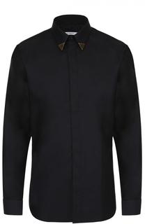 Хлопковая рубашка с декоративной отделкой воротника Givenchy