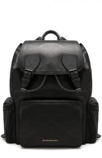 Кожаный рюкзак с клапаном и внешними карманами на молнии Burberry