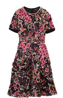 Приталенное мини-платье с контрастной отделкой Elie Saab