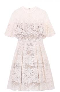 Кружевное приталенное мини-платье Elie Saab