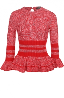 Пуловер с баской и укороченными расклешенными рукавами Alexander McQueen
