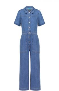 Джинсовый комбинезон с широкими брючинами и накладными карманами MiH Jeans