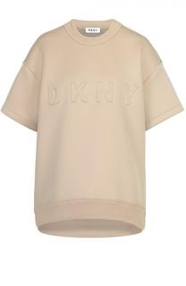 Свитшот свободного кроя с логотипом бренда DKNY