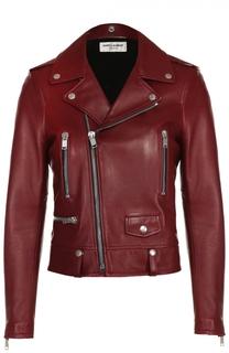 Укороченная кожаная куртка с косой молнией Saint Laurent