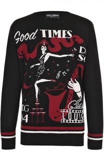 Шелковый джемпер с контрастным принтом Dolce & Gabbana