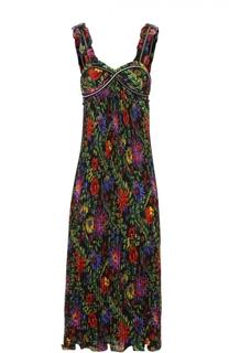 Плиссированное платье-миди с контрастным цветочным принтом 3.1 Phillip Lim