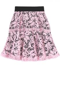 Кружевная мини-юбка с контрастным поясом Dolce & Gabbana
