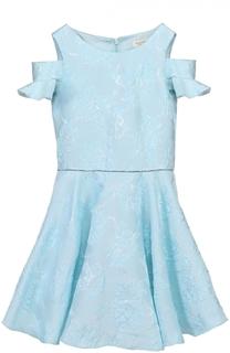 Платье со стразами на поясе и оборками David Charles