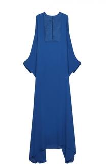Шелковое платье-макси асимметричного кроя Roberto Cavalli