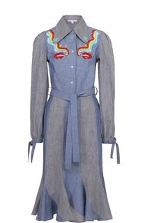 Платье-рубашка с поясом и контрастной отделкой Olympia Le-Tan