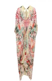 Шелковое платье-макси асимметричного кроя с цветочным принтом Roberto Cavalli