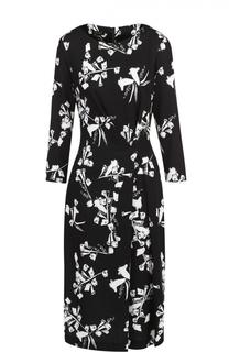 Приталенное платье-миди с контрастным цветочным принтом Escada