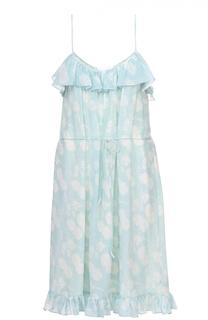 Шелковое приталенное платье-миди с оборками и цветочным принтом Athena Procopiou